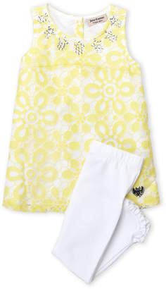 Juicy Couture Girls 4-6x) Two-Piece Floral Lace Dress & Ruffle Leggings Set