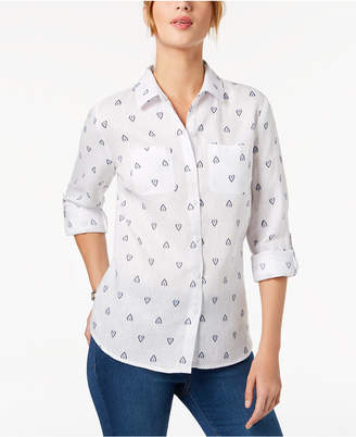 Charter Club Linen Printed Shirt, Created for Macy's
