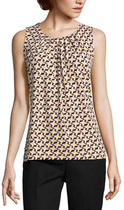 Liz Claiborne Sleeveless Pleated Neck Knit Blouse