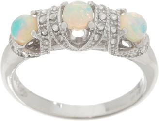 Gemstone Diamond Cut Three Stone Ring, Sterling Silver