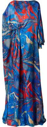 Rosie Assoulin Lady Liberty Cape-back Printed Crepe De Chine Gown