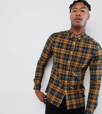 Asos Design DESIGN Tall stretch slim check shirt in navy & mustard
