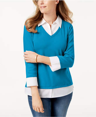 Karen Scott Cotton Layered-Look Top