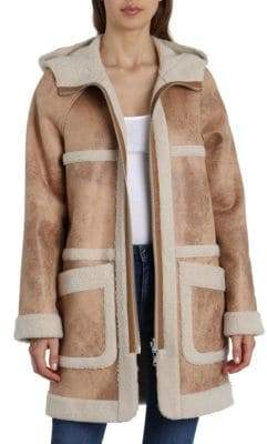 AVEC LES FILLES Reversible Sherpa and Faux Leather Coat