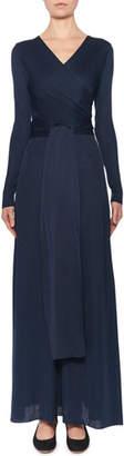 The Row Pionah Long-Sleeve Wrapped Silk Dress