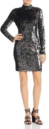 Milly Sequin Mock-Neck Mini Dress