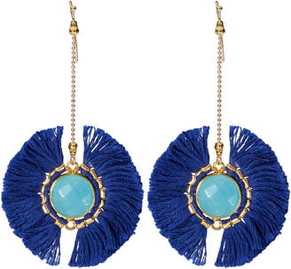 Panacea Pannee By Navy & Turquoise Tasseled Single Drop Earrings