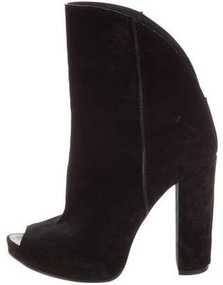 CNC Costume National Suede Peep-Toes Boots