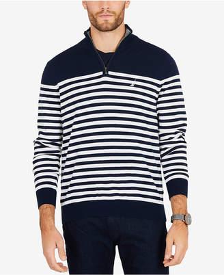 Nautica Men Big & Tall Quarter-Zip Striped Navtech Sweater
