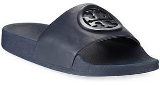 Tory Burch Lina Leather Flat Pool Slide Sandal