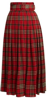 Emilia Wickstead - Richie Tartan Print Pleated Skirt - Womens - Red Multi