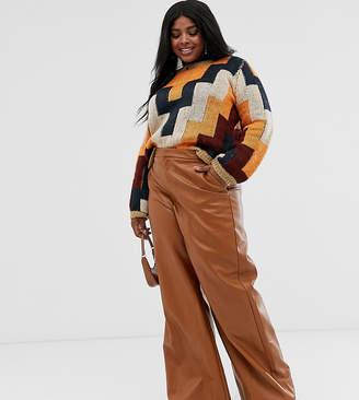 Skylar Rose Plus wide leg trousers in faux leather