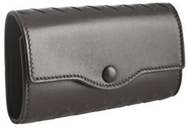 Bottega Veneta dark brown leather key case