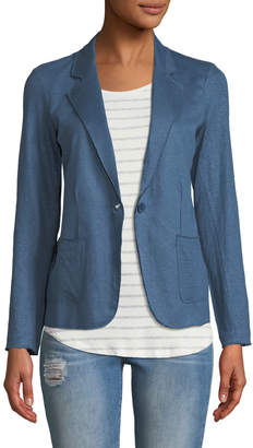 Majestic Stretch Linen Open-Front Blazer, Blue