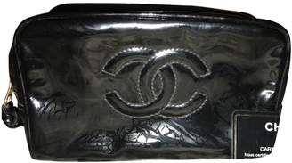 Chanel Vintage Black Patent leather Clutch Bag