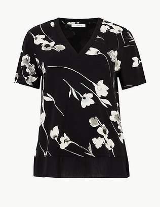 Marks and Spencer Floral Print V-Neck Short Sleeve T-Shirt