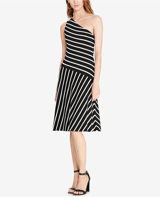 Lauren Ralph Lauren Striped One-Shoulder Dress $185 thestylecure.com