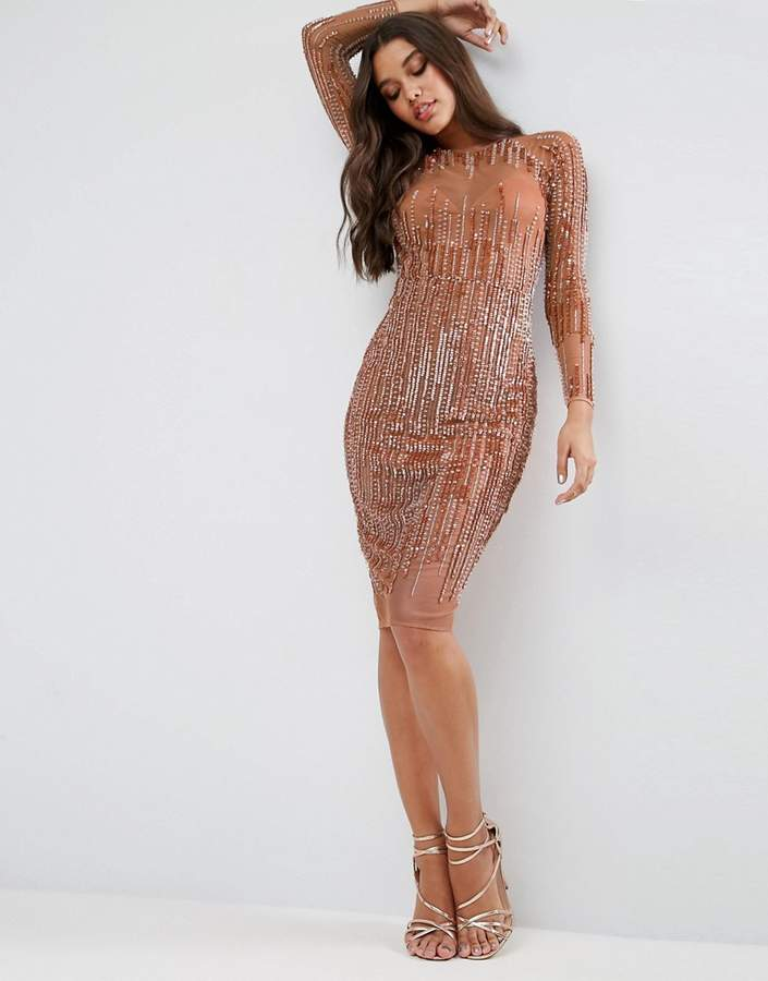 AsosASOS Sequin Stripe Bodycon Midi Dress