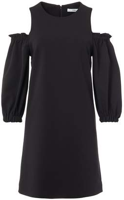 Tibi Structured Crepe Cut Out Ruffle Sleeve Dress
