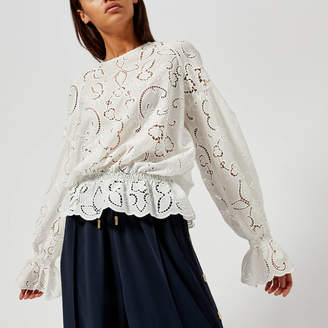 Perseverance London Women's Lily Cut Out Embroidery Crepe Blouse