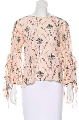 Creatures of the Wind Printed Silk Long Sleeve Top