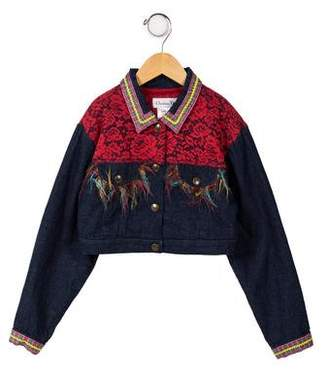 Christian Dior Girls' Cropped Denim Jacket