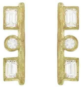 Tate Rectangle And Circle Diamond Stud Earrings
