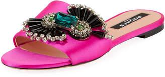 Rochas Embellished Satin Flat Sandals