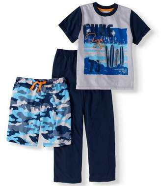 Cherokee Boys' Surf Tee, Short And Pant 3 Piece Sleep Set
