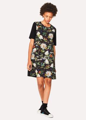Women's Black 'Photographic Floral' Print Jersey Dress