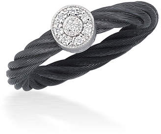 Alor Noir Black Cable Ring w/ Round Diamond Station, Size 6.5