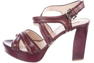 Giorgio Armani Leather Platform Sandals