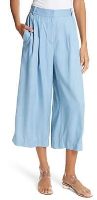 Tibi Drape Chambray Pleated Crop Wide Leg Pants