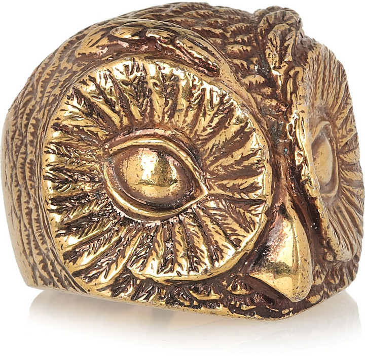 Burberry Shoes & Accessories Burnished gold-tone owl ring