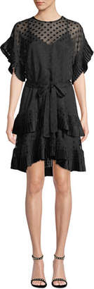 Zimmermann Tiered Polka-Dot Pleated Short Dress