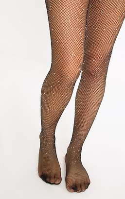 PrettyLittleThing Black All Over Iridescent Diamante Tights