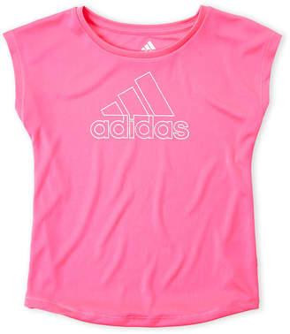 adidas Girls 4-6x) Metallic Logo Active Tee