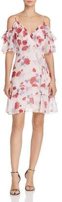 Endless Rose Ruffled Floral Cold-Shoulder Dress