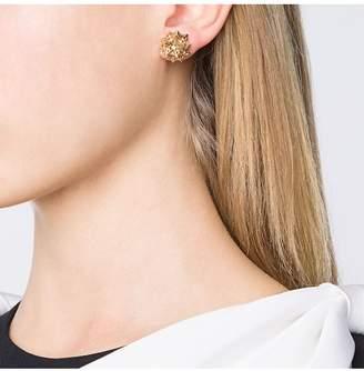 John Brevard Flat Helix Frame Diamond Stud Gold Earrings