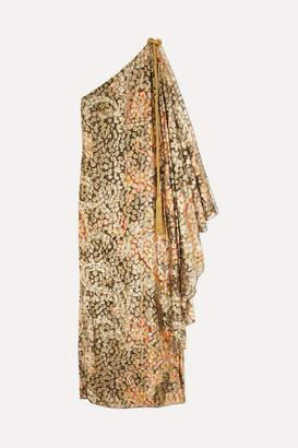 Dundas One-shoulder Printed Metallic Fil Coupé Silk-blend Maxi Dress - Gold