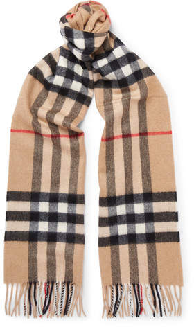 ad5b0baed464c ... clearance burberry fringed checked cashmere scarf 6808d d0a2c