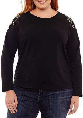 A.N.A Long Sleeve Embroidered Sweatshirt - Plus