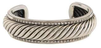 David Yurman Diamond Narrow Sculpted Cable Cuff