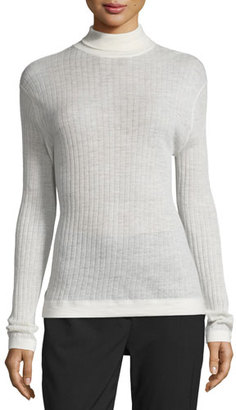 DKNY Ribbed Wool-Blend Turtleneck Top, Chalk $62 thestylecure.com