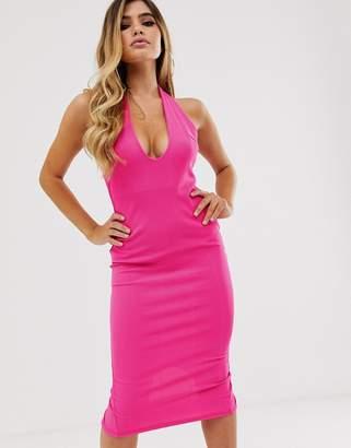 af6b2cef4093 Asos Design DESIGN deep scoop halter neck midi dress