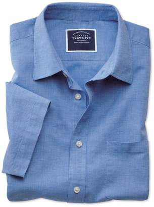 Charles Tyrwhitt Classic Fit Bright Blue Cotton Linen Short Sleeve Cotton Linen Mix Casual Shirt Single Cuff Size Large