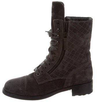 Chanel Quilted Combat Ankle Boots