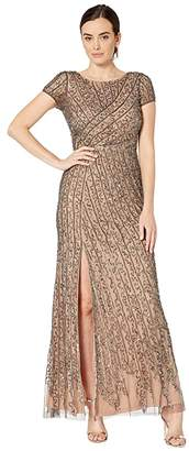 Adrianna Papell Cap Sleeve Boat Neck Beaded Mermaid Gown