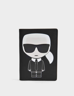 Karl Lagerfeld K/Ikonik Passport Holder in Black Technical Saffiano