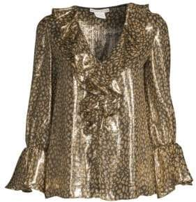 Alice + Olivia Elliot Long-Sleeve Leopard Ruffle Blouse